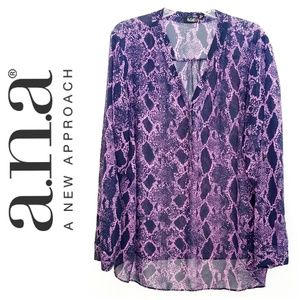 a.n.a. Navy Blue and Lavender Snakeskin Blouse